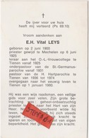 Tienen, Tirlemont, Tirlemont, Doodsprentje Priester Vital Leys, Heilig Hartparochie, 1980! - Obituary Notices