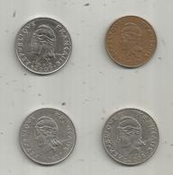 Monnaie, NOUVELLE CALEDONIE , 100 Francs 1999 ,  50 Francs 1967-2008-2009 , 2 Scans ,  LOT DE 4 MONNAIES - Nouvelle-Calédonie