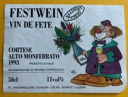 10850 - Vin De Fête Cortese Alto Monferrato 1993 Italie Clown - Other
