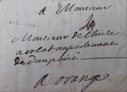 """DF40266/58 - ✉️ Du 13 JANVIER 1749 - GRENOBLE Isère) à ORANGE (Vaucluse) - MARQUE POSTALE """" GRENOBLE """" De 2 Mm - Postmark Collection (Covers)"""