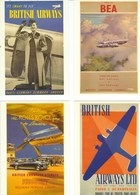 4 POSTCARDS BEA/BRITISH  AIRWAYS ADVERTISING - Advertising