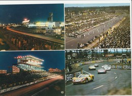 4 CPM:24 HEURES DU MANS DÉPART PILOTES,VOITURES VIRAGE TERRE ROUGE,TRIBUNE CIRCUIT LA NUIT - Le Mans