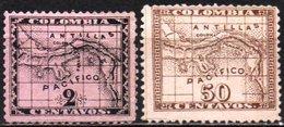 Panama / Colombia 1887-1888 Scott 9, 13 MH, Map - Panama