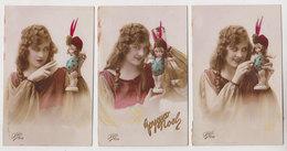 Lot 3 Cpa  Poupée  1922 - Fantaisies