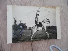 Carte Photo Autographe Morello Jouyl Cirque Cheval De Camargue  Cow Boy Gardian? - Entertainers
