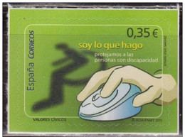 España 2011 Edifil 4640 Sello ** Valores Cívicos Proteccion Personas Discapacitadas Spain Stamps Espagne Timbre Briefmar - 1931-Hoy: 2ª República - ... Juan Carlos I