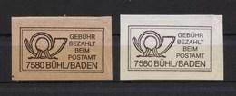 2 Verschiedene Gebühr Bezahlt Beim Postamt 7580 Bühl / Baden - BRD