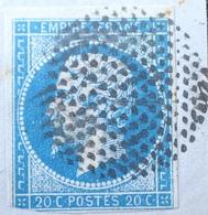 DF40266/64 - NAPOLEON III N°14 Sur Fragment - Oblitération : CERCLE DE POINTS - 1853-1860 Napoléon III