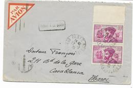 """1935- CARTIER N° 296 En Paire Verticale Sur Lettre PAR AVION Pour CASABLANCA MAROC """" Trouvé à La Boite"""" + Cachets Au Dos - Poststempel (Briefe)"""