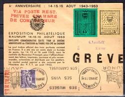 France Timbre De Grève De Saumur 1953 Très Belle Lettre Entière. Rare Et Numérotée. TB. A Saisir! - Strike Stamps