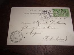 52 COUTELLERIE  1899 CARTE ENVOI KELLER FRERES PARIS  A RENAULT GUILLEMIN FABRICANT COUTEUX A NOGENT - Nogent-en-Bassigny