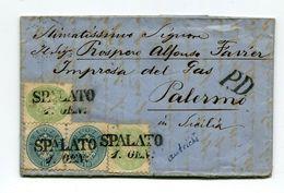 !!! PRIX FIXE : AUTRICHE, LETTRE DE SPALATO POUR PALERME DE 1866 AVEC TEXTE. BEL AFFRANCHISSEMENT COMPOSE - 1850-1918 Impero