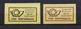 2 Verschiedene Gebühr Bezahlt Beim Postamt 7065 Winterbach - Machine Stamps (ATM)