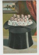 ENFANTS - BEBES - Jolie Carte Fantaisie Bébés Dans Chapeau - Bébés