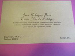 Carte Commerciale/Juan Rodriguez Parra//Teresa Olin De Rodriguez/Confeccionistas/Barcelona/ESPAGNE/Vers 1945-50   CAC164 - Autres Collections
