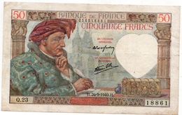 50 Francs Jacques Coeur - 1940 - 1871-1952 Anciens Francs Circulés Au XXème