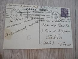 SUR CPA  Paquebot Le Normandie Belle Flamme Oblitération Mécanique OMeca Le Havre New York 1939 C - Maritime Post