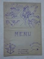 Menu à Bord Du C.C. Lemercier S.A.M.A.N Saint Mandrier 21 Septembre 1950 - Menus