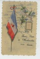 """GUERRE 1914-18 - Jolie Carte Petit Format CELLULOID Avec Drapeau Français """"Que Le Sacré Coeur De MONTMARTRE Vous Bénisse - Weltkrieg 1914-18"""
