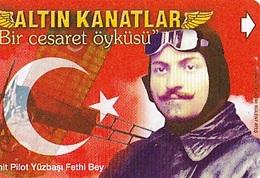 TURQUIE Carte Magnétique  Alcatel    Altin Kanatlar - Captain Fethi Bey   60 Unités De 05.2001 - Army