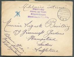 Enveloppe Obl. Dc 's HERTOGENBOCH Du 9-II-1916 Vers Londres + Griffe Violette PORTVRIJ Militaires Etrangers Internés Dan - Sonstige