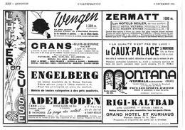 1934 L'hiver En Suisse Wengen, Zermatt, Le Caux-Palace, Engelberg, Rigi-Kaltbad, Adelboden, Montana- Publicité Tourisme - Pubblicitari