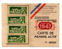 Fédération Nationale Des Déportés Du Travail .Carte De Membre Actif 1947 - Documents