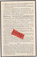Tienen, Tirlemont, Tirlemont, August Laermans, Weduwenaar Van Virginie Schoffeniels, 1942! - Obituary Notices