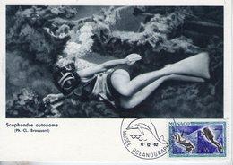 Monaco. Carte Maximum. Exposition L'homme Sous La Mer. 1962. Lot 7 Cartes - Maximumkarten (MC)