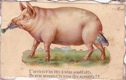 CPA Découpi Ajouti Collage Cochon Porc Pig Poisson Fish 1er Avril Humour (2 Scans) - Pigs