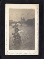 Paris 75 - Bâteau Remorqueur  Sur La Seine  Tirant  Péniches - Carte Photo Année 1907 Sépia - Tugboats