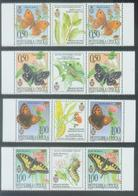 BHRS 2001-202-5 BUTTERFLY, BOSNA AND HERZEGOVINA, R.SRPSKA, 2 X 4v + Labels, MNH - Schmetterlinge