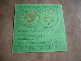 Taxe Fiscale Vignette Automobile 1963 1964 120F 8 à 11 Cv C 80 Somme - Fiscaux