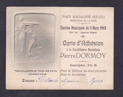 Carte Adhesion Candidature Election Municipale Pierre Dormoy Parti Socialiste SFIO 12è Ar. Picpus Maurice Hollande Reims - Unclassified