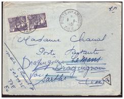 Gandon N° 883 En Paire Utilisés Comme Timbres Taxe 10frs Poste Restante Sur Lettre En FM Pour DRAGUIGNAN Du 9.9.51. - Francia