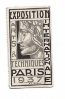 Jeton Carton Exposition Internationale Arts Et Techniques 1937  Paris - Old Paper