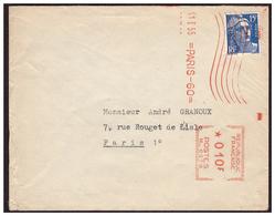 Gandon N° 886 Complément D'affranchissement Par E M A  Sur Lettre De PARIS Pour PARIS Du 11.1.55. - France