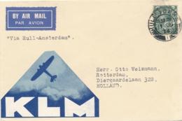 UK / Nederland - 1934 - First Flight KLM Hull - Amsterdam - Luftpost