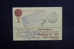 PAYS BAS - Carte Postale Par Ballon En 1947 , Cachet Plaisant , Signature Du Pilote - L 33871 - Periode 1891-1948 (Wilhelmina)