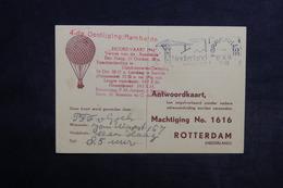 PAYS BAS - Carte Postale Par Ballon En 1946 , Cachet Plaisant  - L 33872 - Periode 1891-1948 (Wilhelmina)