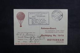 PAYS BAS - Carte Postale Par Ballon En 1947 , Cachet Plaisant  - L 33873 - Periode 1891-1948 (Wilhelmina)