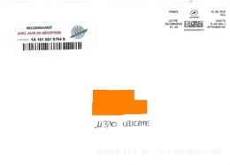 Affranchigo 45 Gr Lettre Recommandée R1 AR - Marcofilie (Brieven)