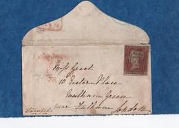 1851 - Victoria -Non Dentelé -  1 P. Rouge-brun S /petite Enveloppe - Cachets  Au Verso   Yvert N° 3  Court - 1840-1901 (Victoria)