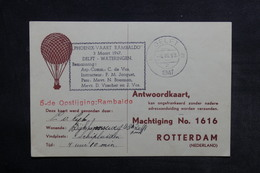 PAYS BAS - Carte Par Ballon En 1947 ,  Cachet Plaisant - L 33880 - Periode 1891-1948 (Wilhelmina)
