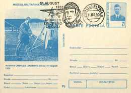 32  Charles Lindbergh: Entier (c.p.) Roumanie, 1993 - Aviation Pioneer Stationery Postcard. Freemasonry Franc-maçonnerie - Transport