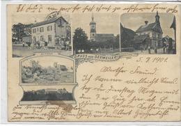67 GOXWEILER . Bonjour En 5 Clichés Dont La Gare Animée , église , édit : Bürckel F Barr , écrite En 1901 , état Correct - France