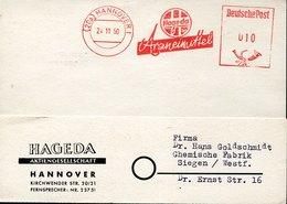 45889 Germany, Red Meter Freistempel Ema, 1950 Hannover  Arzneimittels, Medecine, Pharmacy Pharmacie - Pharmacie