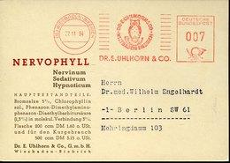 45890 Germany, Red Meter Freistempel Ema, 1954 Wiesbaden Dr. E.uhlhorn,pharmacy,eule,owl, Hibou - Eulenvögel