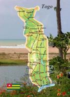 Togo Country Map New Postcard Landkarte AK - Togo