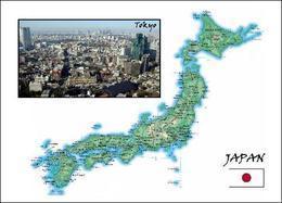 Japan Country Map New Postcard Landkarte AK - Japan